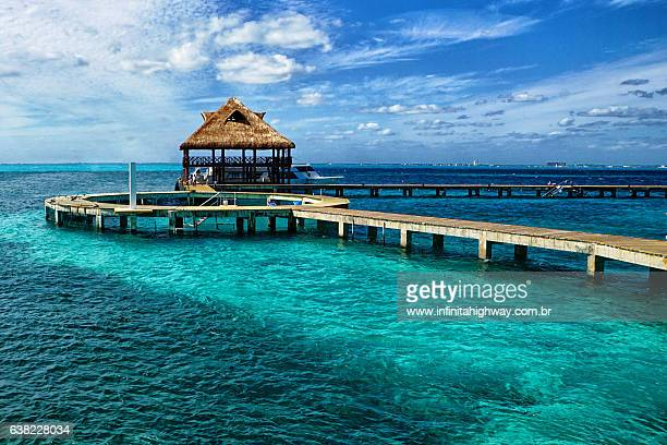caribbean sea - isla mujeres stock photos and pictures