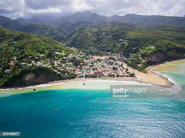 caribbean, st. lucia, aerial photo of village canaries - st. lucia stock pictures, royalty-free photos & images