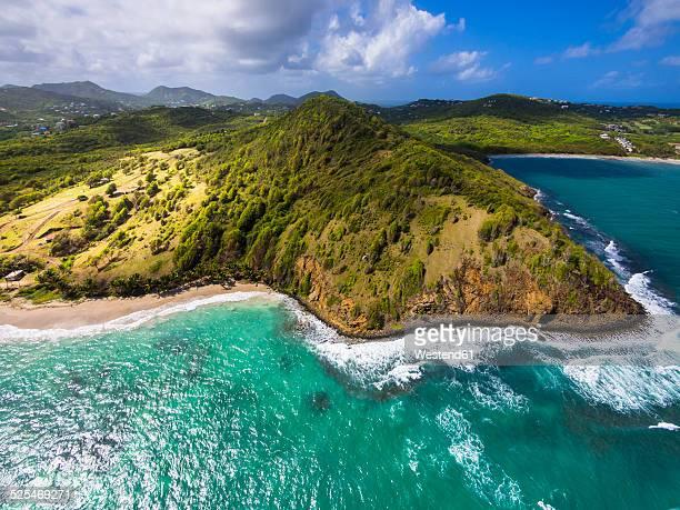 caribbean, st. lucia, aerial view of epouge bay and plantation bay - paisajes de santa lucia fotografías e imágenes de stock