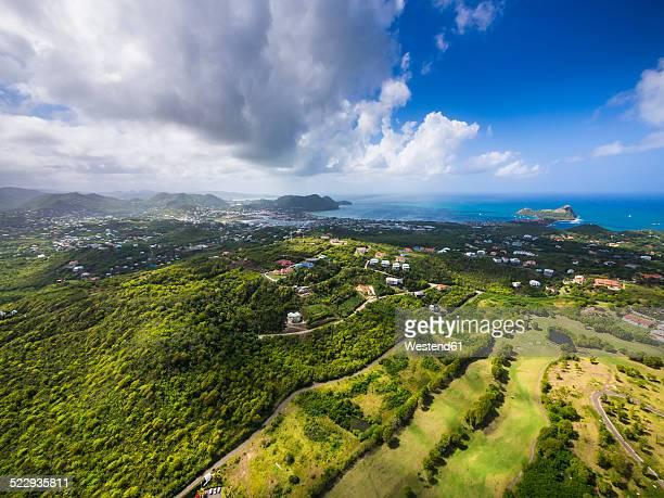 Caribbean, St. Lucia, Cap Estate, Cottan Bay Village, aerial photo of Plantation Bay Region