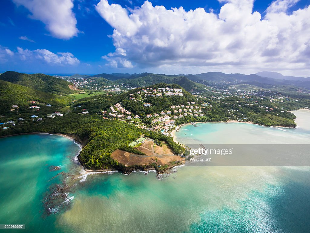 Caribbean, St. Lucia, Choc Bay, aerial photo of Calabash Cove Resort : Stock Photo