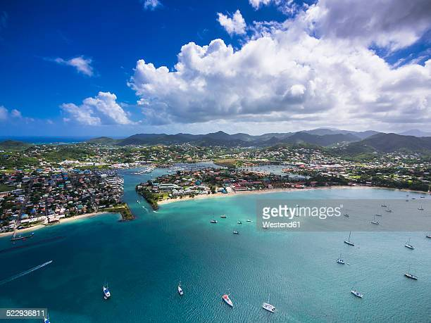 caribbean, st. lucia, rodney bay, cap estate, aerial photo of reduit beach - st. lucia stock pictures, royalty-free photos & images