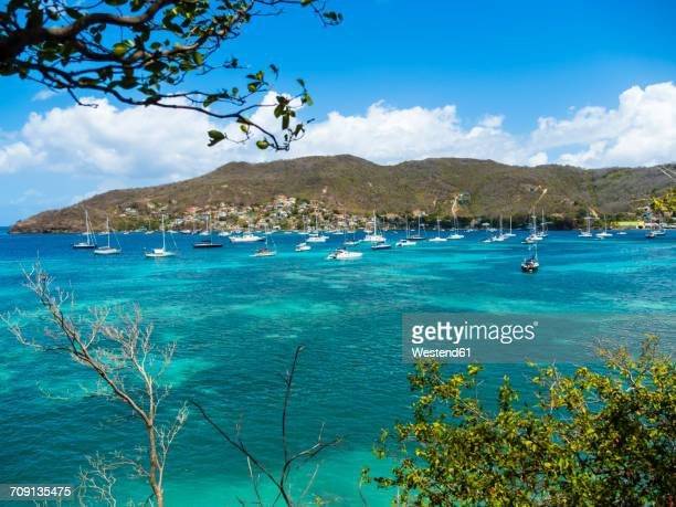 Caribbean, St. Vincent And The Grenadines, Bequia, bay of Port Elisabeth with sailing ships