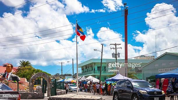 caribbean town. st john's, antigua & barbuda. - antigua & barbuda stock pictures, royalty-free photos & images