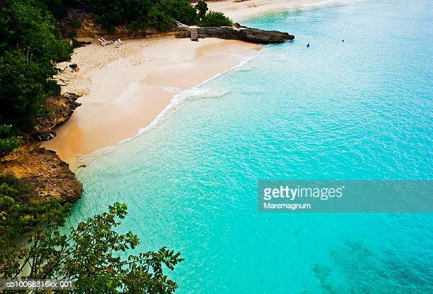 Caribbean, West Indies, Anguilla, sandy beach, elevated view