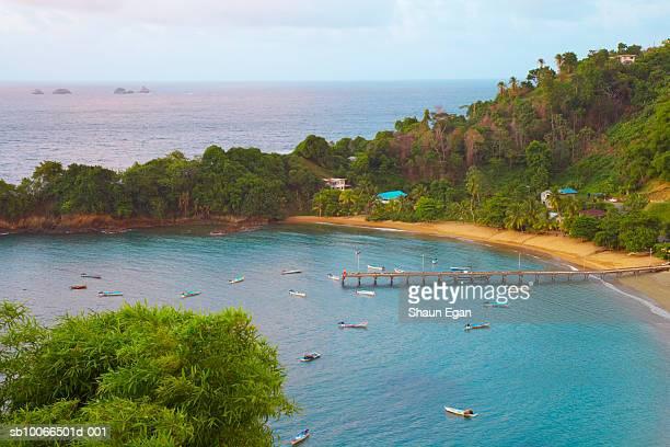 caribbean, west indies, tobago, elevated view of parlatuvier bay - トリニダードトバゴ共和国 ストックフォトと画像