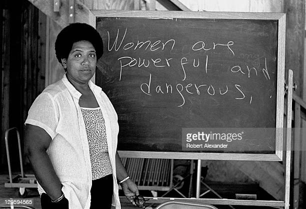 CaribbeanAmerican writer poet and activist Audre Lorde lectures students at the Atlantic Center for the Arts in New Smyrna Beach Florida Lorde was a...