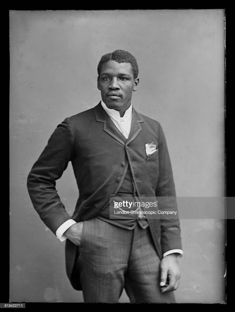 Caribbean-born bare-knuckle boxer Peter Jackson (1861 - 1901), 2nd December 1889. The descendant of a freed slave, he was born on the island of Saint Croix in the then Danish West Indies (now the U.S. Virgin Islands). He later emigrated as a deckhand to Australia and became an Australian citizen. Variously nicknamed 'Peter the Great' and 'The Black Prince', Jackson had a long career in Australia, America and England. He fought several matches in London, most famously against Jem Smith at the New Pelican Club Gym in 1889. He won the Australian heavyweight title in 1886 and the World Colored Heavyweight Championship in 1888. He died in from tuberculosis in Sydney in 1901.