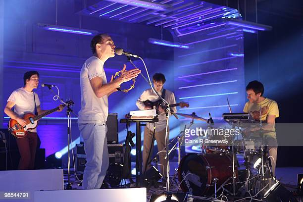 Caribou, including Dan Snaith , perform on stage during a recording of the 'Evo Music Rooms' for Channel 4, in association with Punto Evo, at The Old...