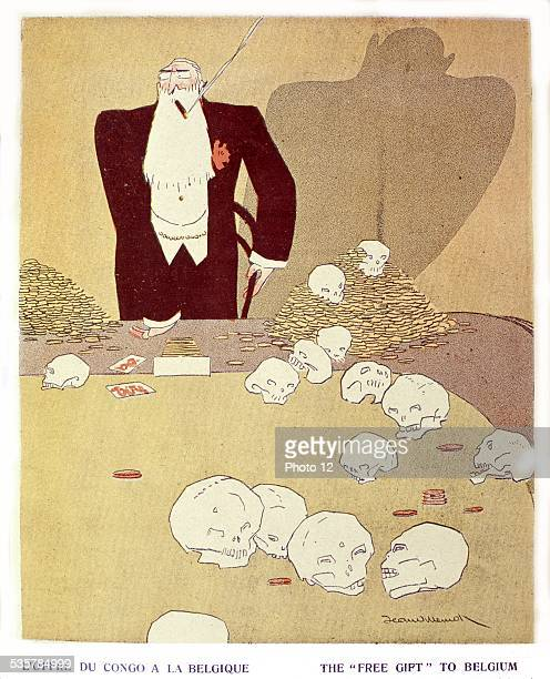Caricature about Leopold II, king of the Belgians, about his politics in Congo, Belgium - Colonization, Private collection, .