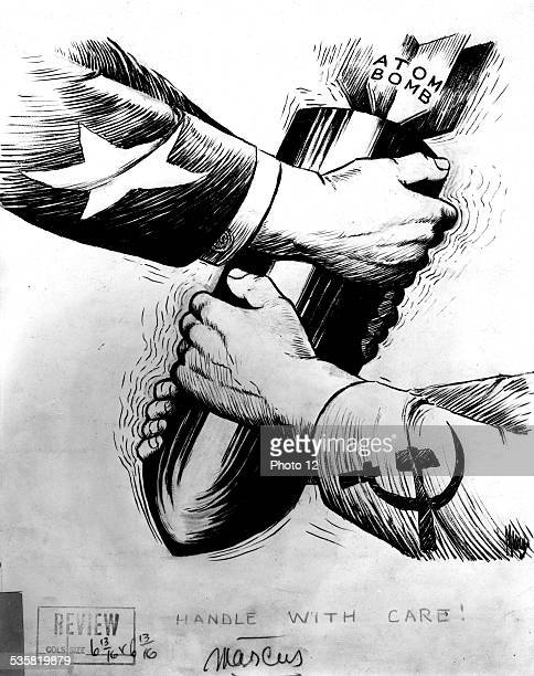 Caricature about the United States and the USSR fighting over the atomic bomb 20th century USA Washington Library of Congress