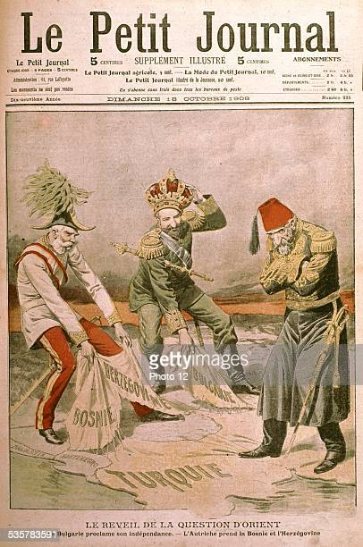 Caricature 'Awakening of the Eastern Question' Bulgaria proclaiming its independence Austria tearing off Bosnia and Herzegovina France