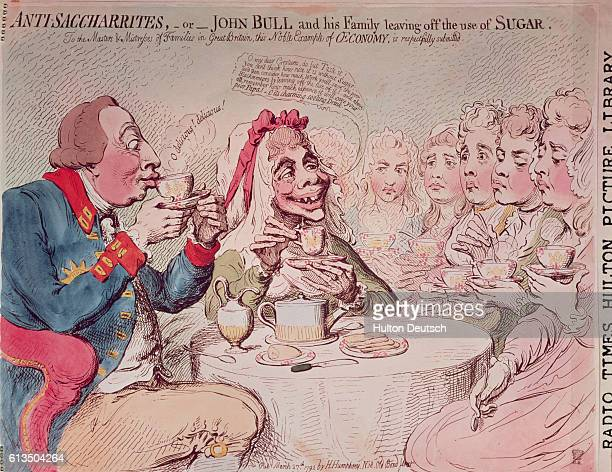 A caricature by Gillray featuring King George III and Queen Charlotte