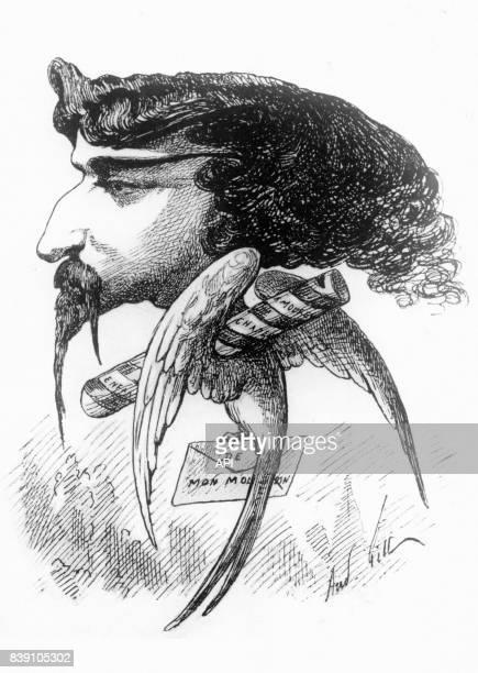 Caricature de l'écrivain Alphonse Daudet en oiseau par le dessinateur André Gill