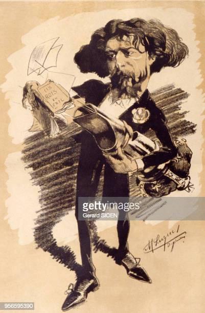 Caricature de l'écrivain français Alphonse Daudet au Musée d'Alphonse Daudet à SaintAlbanAuriolles en Ardèche en France