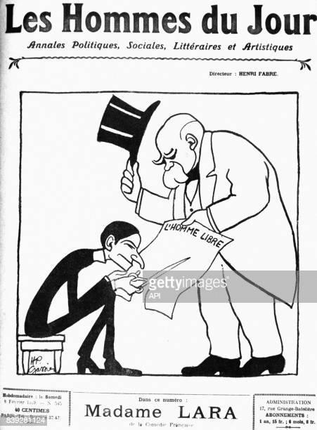 Caricature de l'homme politique français Georges Clémenceau, parue dans le journal 'Les Hommes du Jour' le 8 février 1919, en France.
