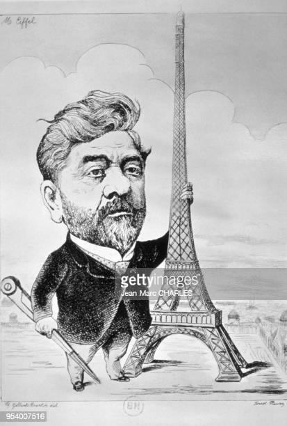 Caricature de l'ingénieur français Gustave Eiffel à côté de la tour Eiffel à Paris France