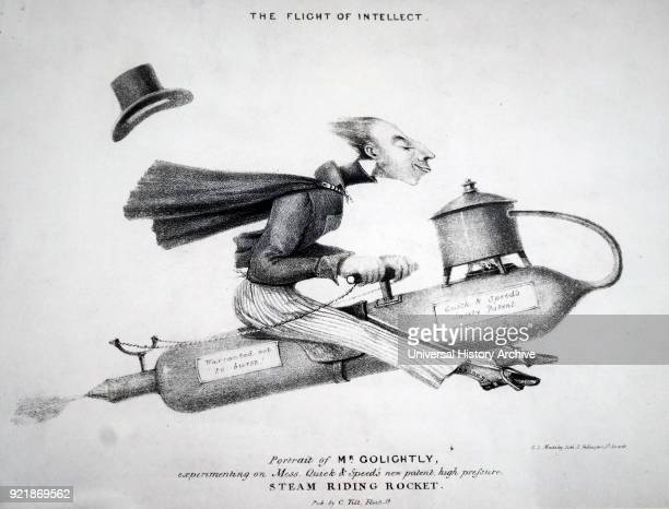 Caricature depicting Charles Golightly mounted on a flying machine Charles Golightly an Anglican clergyman and religious writer Dated 19th century