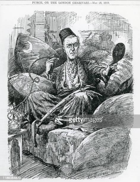 Caricature du président américain Woodrow Wilson dans un salon ottoman, par Leonard Raven Hill, publiée dans le magazine 'Punch'.