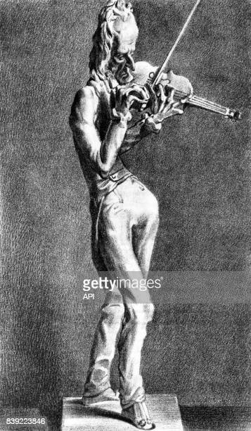Caricature du violoniste italien Niccolo Paganini d'après la sculpture de JeanPierre Dantan