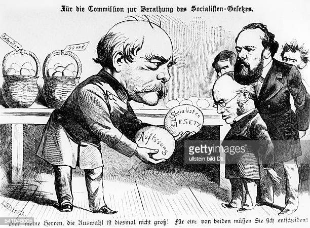 Caricature from the satirical magazine 'Kladderadatsch' focussing on the AntiSocialist Laws chancellor Bismarck presenting two alternatives to the...