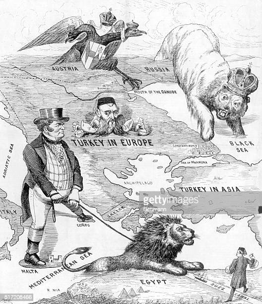 Caricature map of the political divisions surrounding Turkey at the turn of the century Illustration shows the double headed eagle of Austria to the...