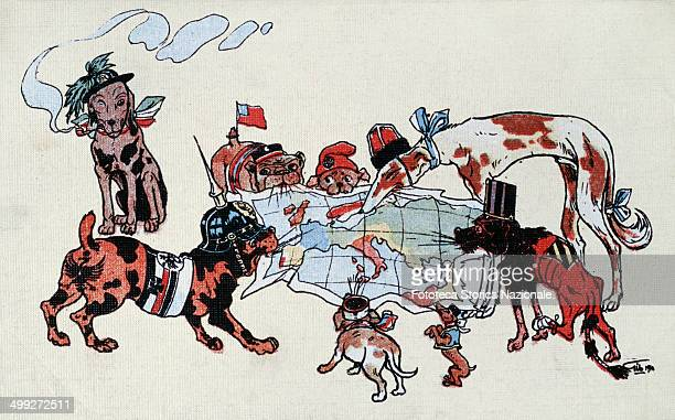 the warring states are represented as dogs of breeds and different sizes that you quarrel Europe each takes between the teeth a flap of the map...