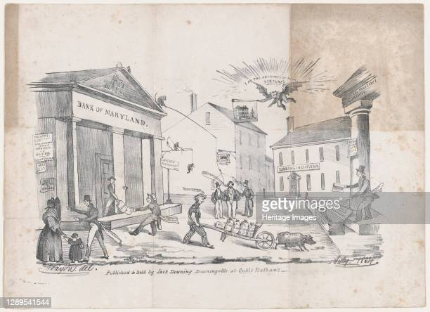 Caricature of a Bank of Maryland Crisis, ca. 1834. Artist Crayon.