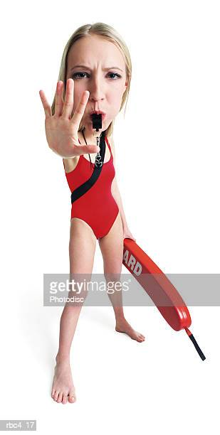 caricature of a blonde female lifegaurd as she yells at swimmers to stop