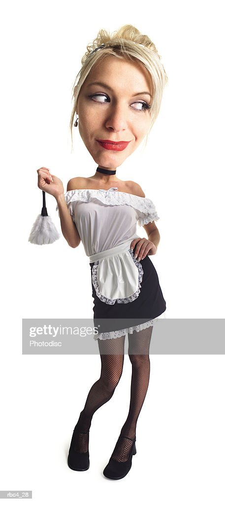 caricature of a blonde french maid as she holds up her feather duster : Stockfoto