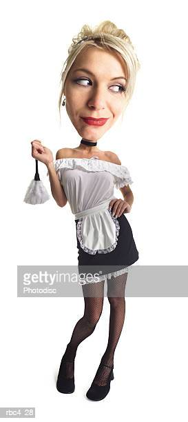 caricature of a blonde french maid as she holds up her feather duster - tenue de soubrette photos et images de collection