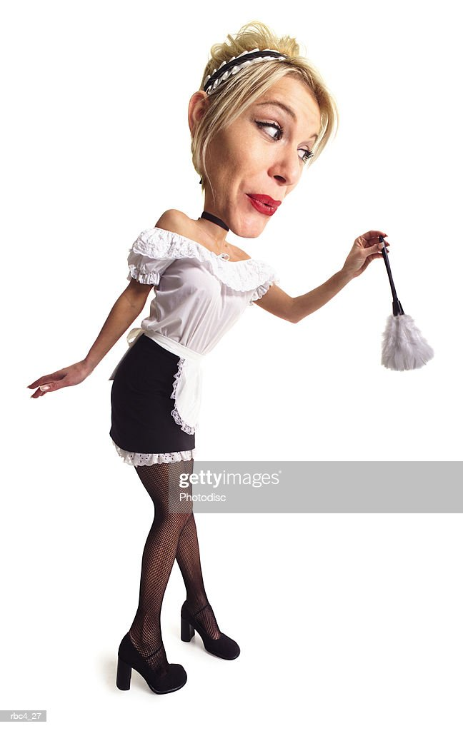caricature of a blonde sexy maid as she carefully dusts : Stockfoto