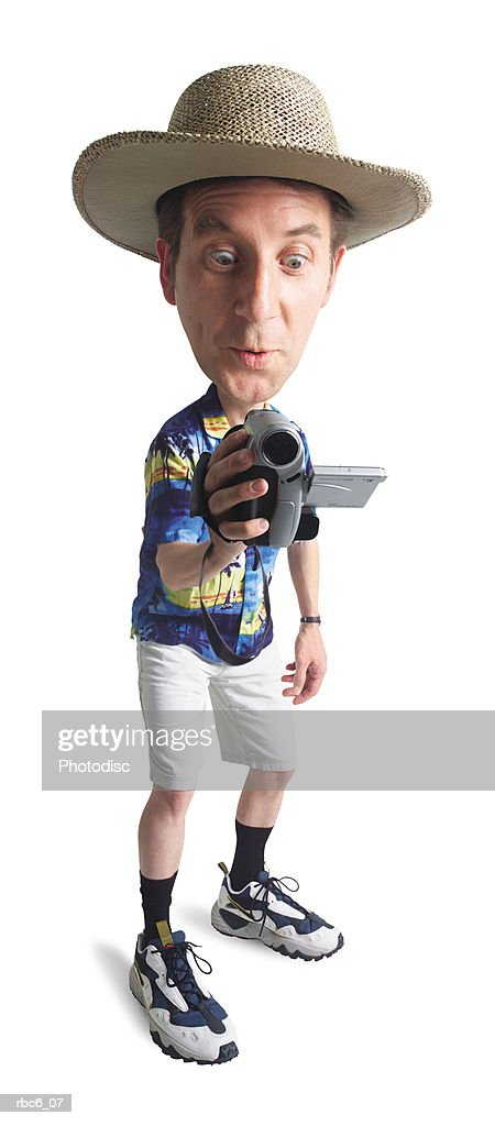 caricature of a caucasian male tourist in a hat and hawaiian shirt as he video tapes his vacation : Stock Photo