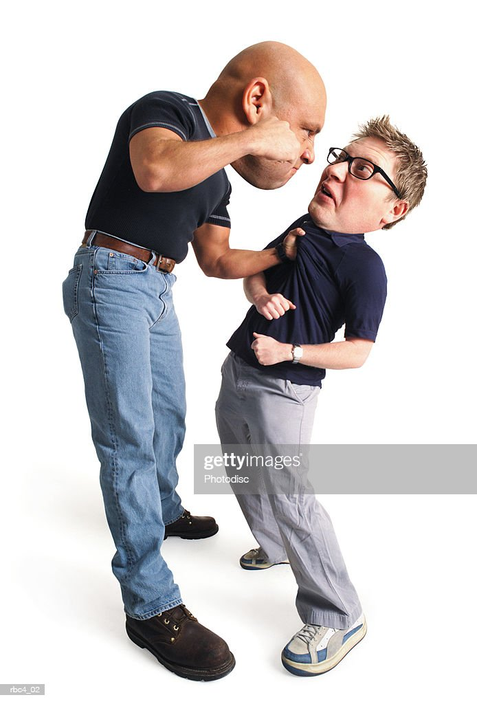 caricature of a tough caucasain bully punching a defenseless dweeb : Stockfoto