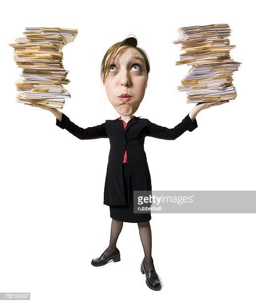 Caricature of a woman holding stacks of paperwork
