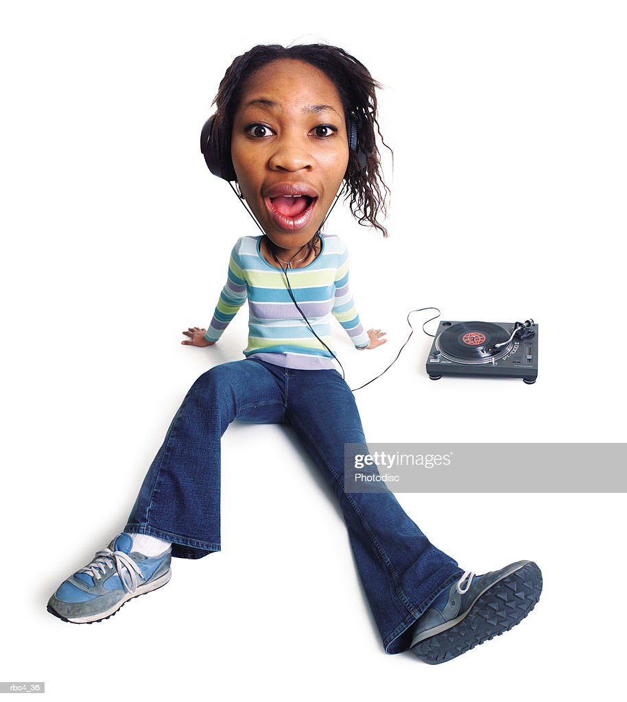 caricature of a young african american woman as she sits and listens to music : Stockfoto