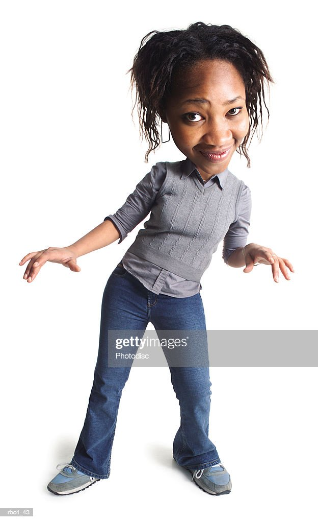 caricature of a young african american woman as she throws her body to the side while dancing : Stockfoto