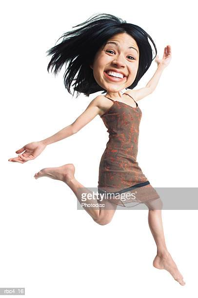 caricature of a young asian woman as she jumps and flies through the air