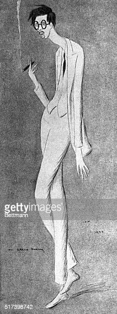 Caricature of Aldous Huxley by Sir Max Beerbohm Depicts the subject standing awkwardly in full exaggerated length smoking a cigar Undated illustration