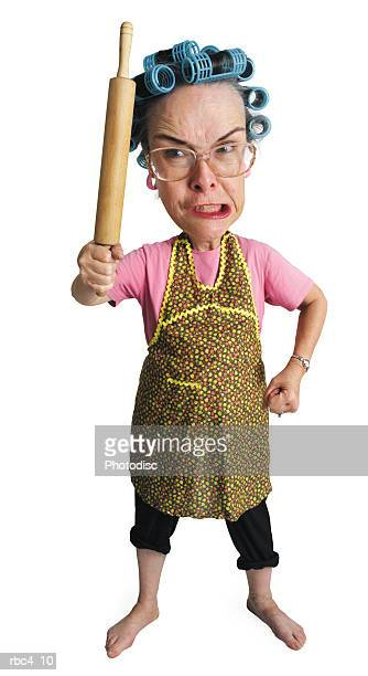 caricature of an elderly angry caucasain woman as she threatens the world with her rolling pin
