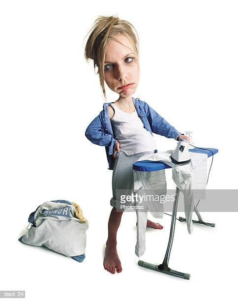caricature of an overworked caucasian woman as she irons her laundry
