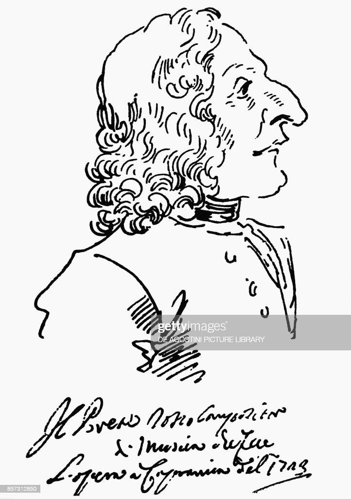 Caricature of Antonio Lucio Vivaldi (1678-1741), 1723, Italian composer and violinist, bearing inscription 'Red Priest composer of music that did opera in Capranica of 1723', by Pier Leone Ghezzi (1674-1755), Italy, 18th century : News Photo
