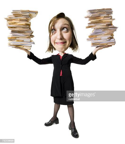Caricature of businesswoman with file folders