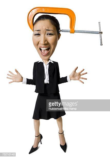Caricature of businesswoman with vice on head