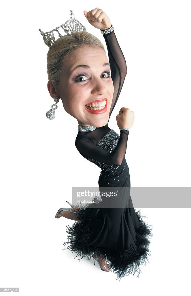 caricature of caucasian blonde beauty queen in black dress and tiara throws arms in the air dances : Stockfoto