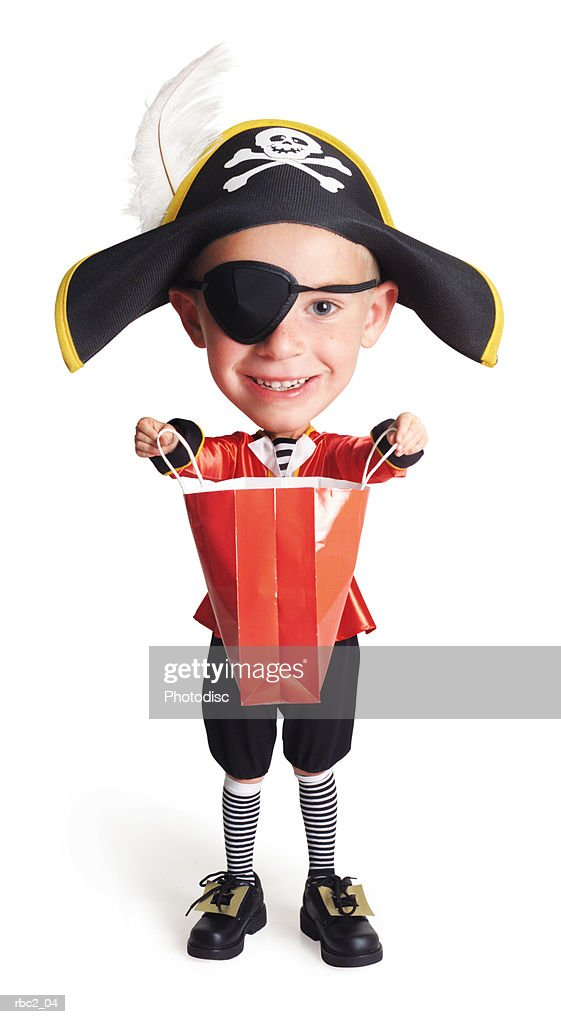 caricature of caucasian boy in pirate costume with bag opened and extened in front of him for treat : Stockfoto