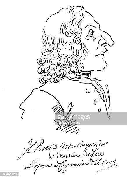Caricature of composer Antonio Vivaldi 1723 Found in the collection of the Vatican Library