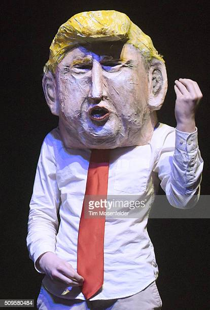A caricature of Donald Trump performs during the Pussy Riot in conversation with Zarina Zabrisky performance at The Warfield Theater on February 10...