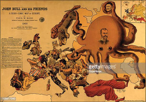 Caricature of European political relations titled 'John Bull and his friends a seriocomic map of Europe' showing the Russian Empire as an octopus...