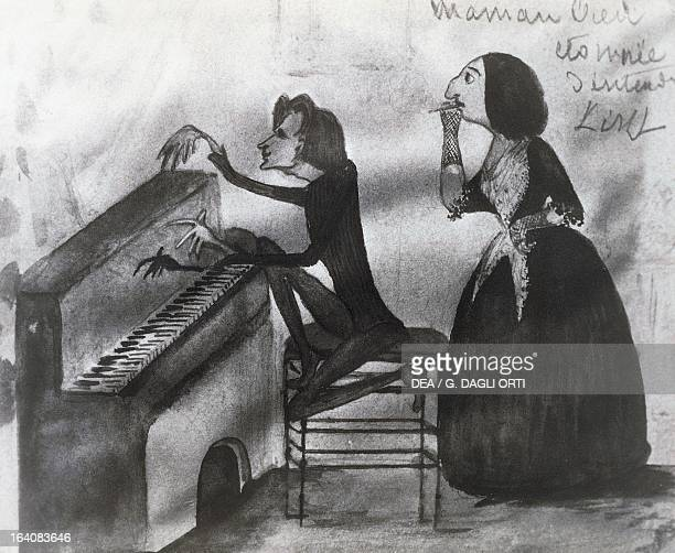 Caricature of Franz Liszt and George Sand in Nohant in 1832 Drawing by Maurice Sand La Chatre Musée George Sand Et De La Vallée Noire